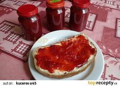Jahodovo - rebarborový džem recept - TopRecepty.cz Tiramisu, French Toast, Cheesecake, Pudding, Canning, Breakfast, Ethnic Recipes, Desserts, Food