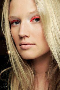 Neon Orange Highlighter Eye Makeup