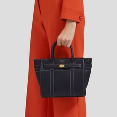 Mini Zipped Bayswater | Midnight Silky Calf | Family | Mulberry Shop Around, Saved Items, Classic Leather, Blue Bags, Hermes Birkin, Calf Leather, Calves, Zip
