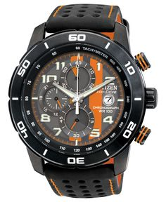 Citizen Men's Chronograph Eco-Drive Black Polyurethane-Coated Leather Strap Watch 45mm CA0467-11H