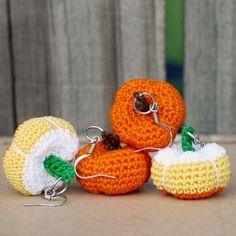 A free crochet pattern for fun, festive, and cute crochet pumpkin earrings.