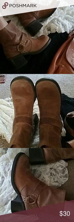 CHUNCKY HEEL HIPPIE BOHO SHORT BOOT BELL BOTTOM HAUTE TRENDING HIPPIE BOOTS, EASY SIDE ZIPPER. HARNESS BUCKLE / SOFT LEATHER. IN EXCELLENT CONDITION AND COMFORTABLE! American Eagle Outfitters Shoes Combat & Moto Boots