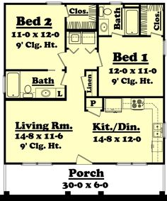 900 Sq. Ft. House Plan [Hunters Ridge (09-003-315)] from Planhouse - Home Plans, House Plans, Floor Plans, Design Plans