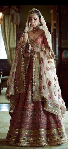 Sabyasachi just launched his 2020 new bridal collection. Sabyasachi Sultana Wedding Lehengas come in gorgeous new shades and you've got to see the dupatta! Indian Bridal Outfits, Indian Bridal Lehenga, Indian Bridal Fashion, Indian Bridal Wear, Indian Designer Outfits, Indian Dresses, Bridal Dresses, Bridal Lenghas, Pink Bridal Lehenga