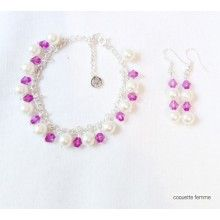 Set AwesomePearl - Fucsia Jewelry Collection, Crochet Earrings, Drop Earrings, Style, Fashion, Moda, La Mode, Fasion, Fashion Models
