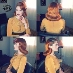 """""""Here is this full view #1940s look on @DorisMayDay! Hair kept smooth by @suavecitapomade's #groomingspray! Hair kept in place by my favorite hairspray…"""""""