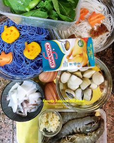 ingredients for seafood bee hoon