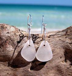 Hawaiian Clear Beach Glass on Silver Plated Circular Wire Small Hoop Earrings by LindseysBeachGlass, $27.00