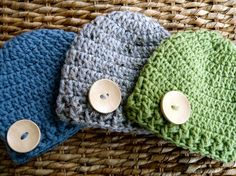 Crocheted Baby Button Hats  Newborn  Set of 3  by JacquelynVaccaro, $33.00