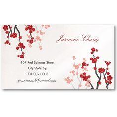Red Sakuras Cherry Blossoms Oriental Zen Asian Business Cards by fat_fa_tin