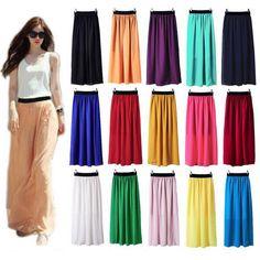Womens Double Layer Chiffon Pleated Long Maxi Elastic Skirt