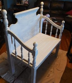 Old bed turned into a bench.