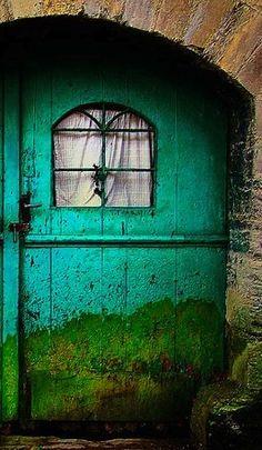 Turquoise Door with Window