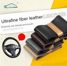 DIY Durable Antidérapant Couverture De Volant de Voiture/Avec Aiguilles et Du Fil de haute qualité fiber ultrafine en cuir 38 cm