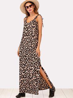 9635b5d929f0 Shop Split Side Knot Shoulder Leopard Dress online. SheIn offers Split Side  Knot Shoulder Leopard Dress & more to fit your fashionable needs.