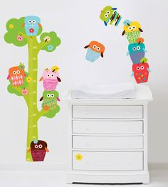 Owls Tree Height Chart Fabric Wall Stickers Set (non vinyl) for Sale at Bouf Owl Wall Decals, Wall Stickers, Wall Murals, Modern Wallpaper Designs, Big Girl Bedrooms, Owl Tree, Height Chart, Wall Hanger, Kids House