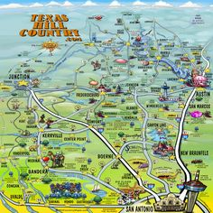 Texas Hill Country Map - I have been to every location named on this map at least once!!