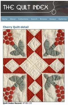 Levina Thomas Stone, of the Five Points Community near Lamesa, Texas, made this Cherry Quilt between 1929-1930 brought to us by Quilt Index at Quilt Alliance Stone hand pieced, appliqued and quilted this quilt, that includes 1,200 stuffed dimensional appliqué cherries …find out more on http://quiltalliance.wordpress.com/2013/03/27/festival-of-appliqued-cherries/