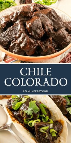 Chile Colorado recipe - tender chunks of beef smothered in a deliciously rich chile sauce. Chili Recipes, Meat Recipes, Gourmet Recipes, Mexican Food Recipes, Cooking Recipes, Healthy Recipes, Beef Chunks Recipes, Chipotle Recipes, Cooks Country Recipes