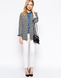 Gap marled open-front cardi, ON chambray, white denim, black booties