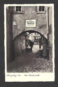 Königsberg Pr. Am Fischmarkt um 1935 Goin Down, My Ancestry, Zahn, City Scene, Lost City, Prussia, Old Pictures, World War Ii, Touring