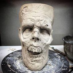 Walker mug. WIP 💀 ------------------------------- #ceramics #walker #pottery #creepy #dark #coffeeaddict #horrorlover #horrorjunkie #nightmare #horrorfan #twd #stoneware #horror #coffee #horroraddict #undead #thewalkingdead #zombiemug #coffeemug #mug #coffeelover #coffeebreak #zombie #zombies #mugsofinstagram #mugaddict #mugcollection