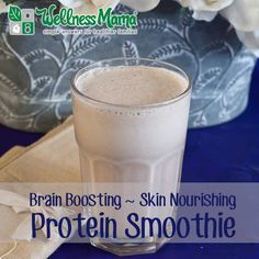 A brain-boosting protein smoothie recipe made with MCT oil or coconut oil for healthy skin and lots of energy.