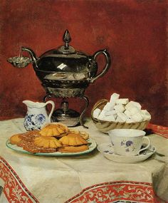 Albert Samuel Anker (Swiss, 1831-1910) - Still life with tea, biscuits and sugar cubes.