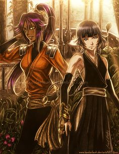 Yep, another pencil/digitally colored Bleach pic. This time I choose to draw Soi Fon and Yoruichi. I am pleased at how they turned out (even if soi fon's arm turned out rather long and skinny looki...