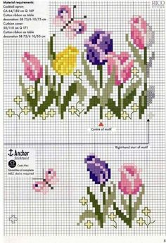 Tulips Border cross stitch chart pattern …… Loads of beautiful flower cross – Embroidery Desing Ideas Cross Stitch Rose, Cross Stitch Borders, Cross Stitch Flowers, Cross Stitch Charts, Cross Stitch Designs, Cross Stitching, Cross Stitch Embroidery, Embroidery Patterns, Hand Embroidery
