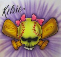 AIRBRUSHED TSHIRT Softball by AirbrushtexasTees on