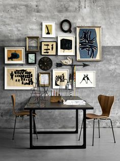 work station | good art, minimalistic furniture, broad techno-free table = inspiration space