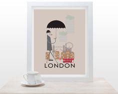 London Print - 11x16 A3 poster wall art decor fun retro design city of london england landmarks british life illustrated