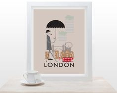 London Print - 11x16 A3 poster wall art decor fun retro design city of london england landmarks british life illustrated
