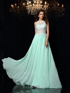 A-Line/Princess High Neck Sleeveless Chiffon Sweep/Brush Train Applique Dresses - Prom Dresses - Occasion Dresses - QueenaBelle.com