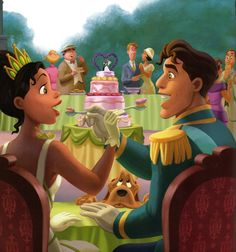 "Disney Couples Tiana & Prince Naveen in ""The Princess and the Frog"" Disney Animation, Disney Pixar, Disney And Dreamworks, Funny Disney, Disney Kunst, Arte Disney, Disney Fan Art, Disney Love, Animation Movies"