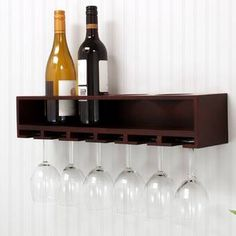 Trent Austin Design Bernardo Luxe Solid Wood Wall Mounted Wine Glass Rack & Reviews | Wayfair Wine Bottle Glass Holder, Hanging Wine Glass Rack, Wine Glass Shelf, Wine Bottle Wall, Bottle Rack, Glass Holders, Glass Shelves, Wall Shelves, Wine Rack Shelf
