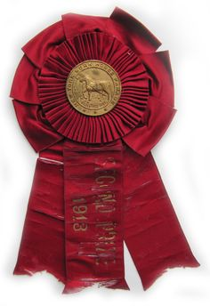 Antique New York Horse Parade brass & silk ribbon. 1913