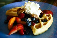 Waffles with fruit & cream by @Monica Shaw in our blog for International Waffle Day - March 25th