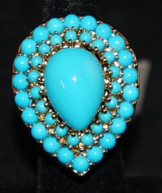 KJL Kenneth Jay Lane Turquoise Teardrop Cocktail Ring 22K Electroplated Size 5 | eBay