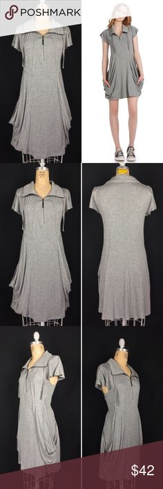 """KENSIE Drape Pocket Heathered Terry Zip Up Dress Kensie For Anthroplogie Gray Zip Collar French Terry Drape Pocket Dress. Excellent preowned condition. Soft jersey knit. Full zip collar. Drape front pockets. Labeled a large. Measurements of the item in inches when flat: Bust: 18"""" Waist: 17"""" Hips: 20"""" Length: 35' Feel free to contact me with any questions you may have. Please take a look at my other unique listings too. Thanks! Styling inspiration Kensie Anthropologie pinterest.com  BL…"""