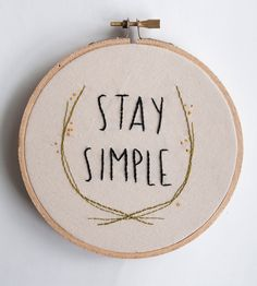 Stay Simple Embroidered Wall Art