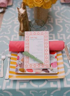 "Wedding reception tablescape and flower/centerpiece design by Mindy Weiss + Elizabeth Messina from ""Rue Magazine"" (View #3) --- I love the color combos and patterns! Light blue table cloth is sweet. It makes everything pop instead of competing with it."