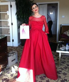 Stunning in a red eco-friendly Valentino design.