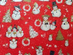 Vintage Christmas Wrapping Paper - Gold Accented Snowman Family by Hallmark…
