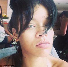 Rihanna shares make-up free selfie