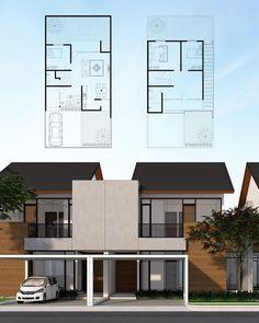 Model House Plan, Dream House Plans, Small House Plans, Cluster House, Modern Small House Design, Narrow House, Facade Design, Facade House, Architecture Plan