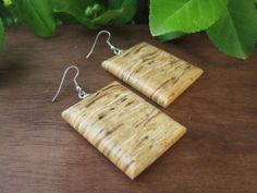 Recycled Wood Earrings  Squiggly Unique Grain  by inbloomdesigns, $27.00