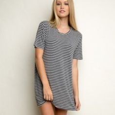 Brandy Melville T-Shirt Dress black & grey striped t shirt dress from Brandy Melville. Super cute and not too short Brandy Melville Dresses Mini