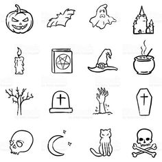 Vector Black Doodle Halloween Icons royalty-free stock vector art